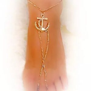 Jewelry - Gold Nautical Anchor Barefoot Sandal Beach Jewelry